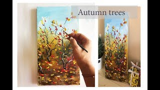 How to draw autumn trees/ ACRYLIC painting on canvas\Demo by Julia Kotenko