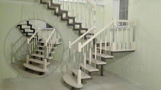 Проект лестницы на металлокаркасе в Орше(Проект лестницы на двух косоурах с разворотом на 180 через площадку и забежные ступени. Каркас устанавливае..., 2016-12-22T09:54:03.000Z)