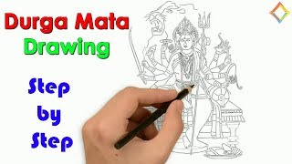 How to Draw durga maa step by step, Goddess Durga drawing step by step, Maa durga face art drawing