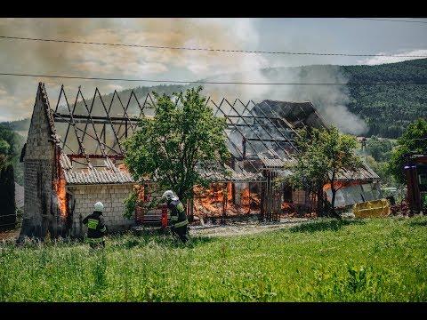 Pożar stodoły w miejscowości Porąbka