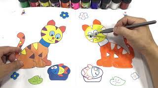 CAT   COLOURS CAT   PAINTINGS CAT   CAT COLOURING BOOK