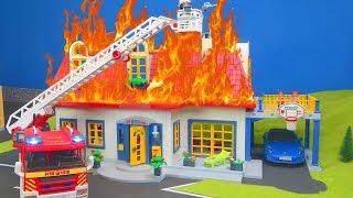 Playmobil en français pompier  Mission de sauvetage de la famille Playmobil - Playmobil pompier