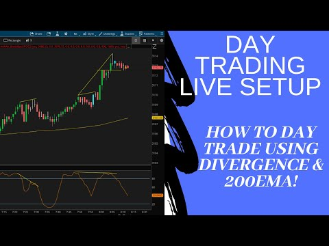 Day Trading S&P Emini Futures With Divergence & 200EMA In Real Time!