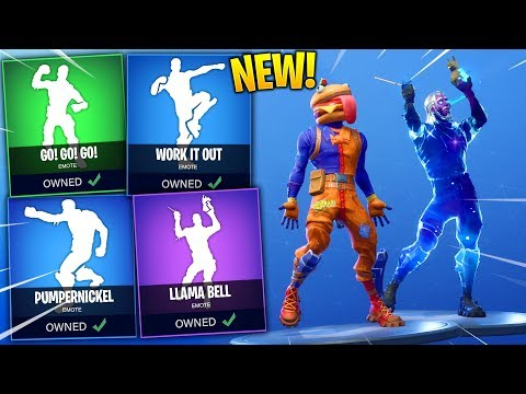 *NEW* Fortnite Leaked Emotes..! (Llama Bell, Work It Out, PumperNickel, Hot Stuff, Go! Go! Go!)