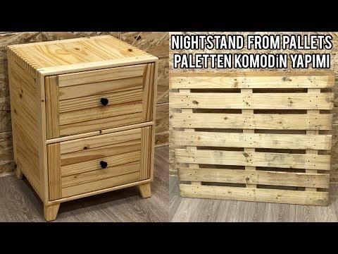 Paletten komodin yapımı / Making nightstand from pallet / Diy pallet wood nightstand / Ahşap komodin