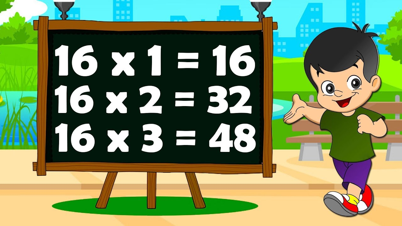 Table Of 16 | Learn Multiplication | 16 x 1 = 16 | 16 Times Tables | Fun &  Learn Video for Kids