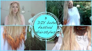 3 DIY Hairstyles ❤️ Feather Extensions, Summer Hair Wrap and Dainty Flower Crown
