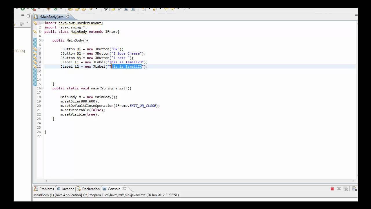 Java Tutoiral | GUI | BorderLayout and JPanel