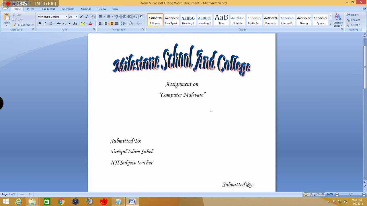 How To Make A Cover Page For Assignments