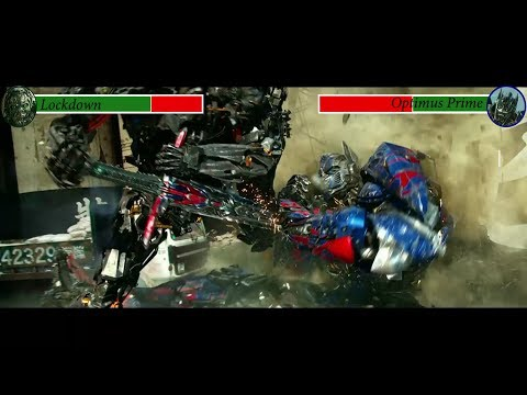 Lockdown vs Optimus Prime with health bars (Transformers 4)