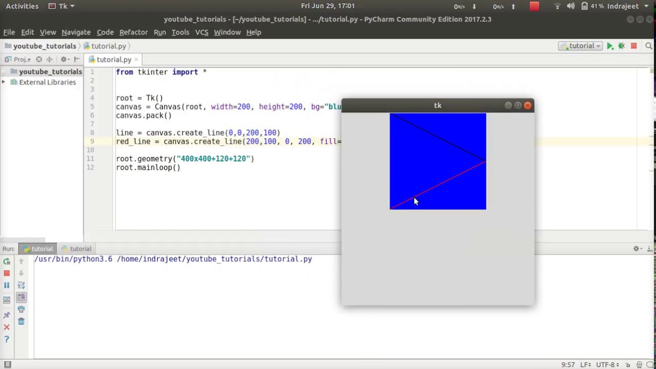 Python GUI Tutorial - 14 - Canvas - create line | Tkinter