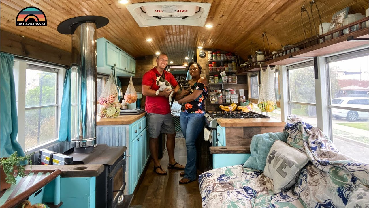 They Sold Their Home & Downsized To A Beautiful School Bus Conversion