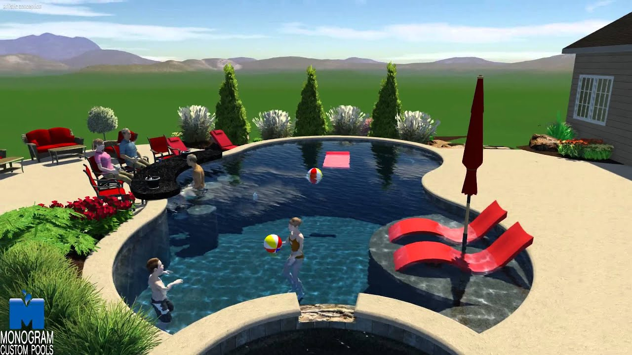 Freeform style pool with swim up bar in bucks county for Pool design with swim up bar