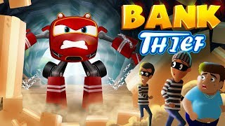 Download SuperCar Rikki and Police car Chases the bank Thief | Kids Cars Cartoon Story 04 Mp3 and Videos