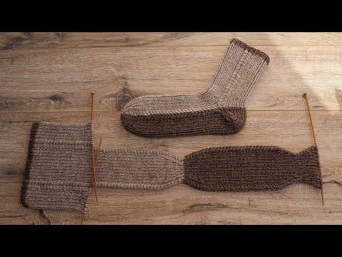 Мужские носки на двух спицах 🥾 Men's Socks Two Needle Knitting Pattern