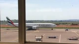 Qatar Airways taking off at entebbe international airport