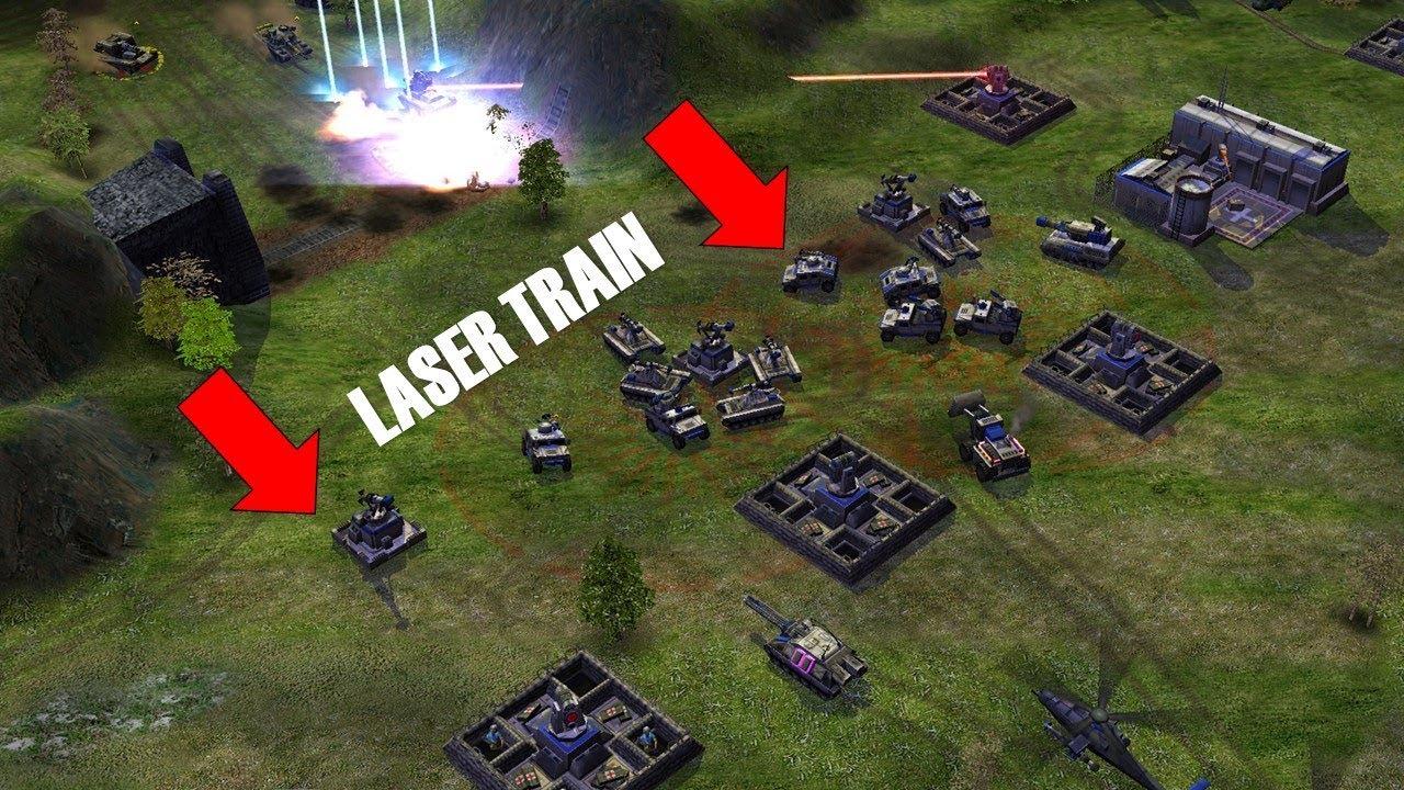 Shockwave Mod - USA Laser General VS Four Medium AI - Laser Train