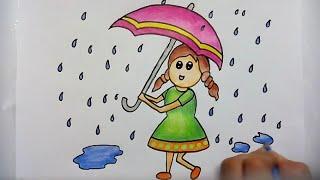 how to draw girl with umbrella in rainy season
