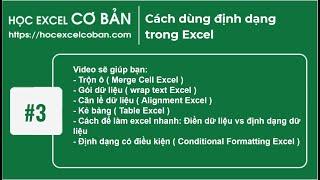 Học Excel cơ bản | #3 Cách dùng định dạng trong Excel