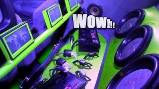 CRAZY Custom Car Audio Install w/ Manny's GREEN BEAST | Spinning LAMBO Doors & PPI Phantom Subs