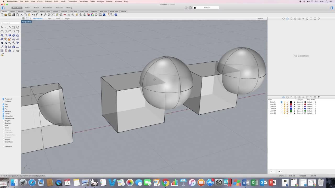 Rhino for Mac Tutorials - Getting Started Series / Tutorial 7 (Boolean Part  2)