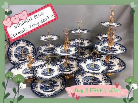 Windmill Blue Ceramic Dessert Tray series