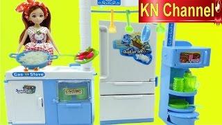 Đồ chơi nhà bếp BÚP BÊ LELIA NẤU ĂN BÁN QUÁN CƠM Toy kitchen velcro fruit vegetables
