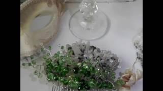 Дизайнерски гребен- украса за коса зелени кристали комплект с обици- Evergreen от AbsoluteRose.com