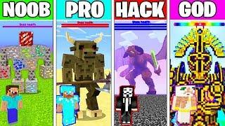 Minecraft Battle: SUPER BOSS FIGHT CHALLENGE - NOOB vs PRO vs HACKER vs GOD ~ Minecraft Animation