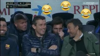 Barcelona's bench reaction as Mascherano scored his first goal in 7 years!!!