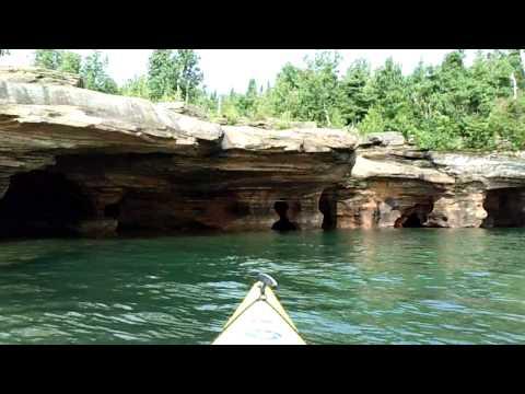 kayaking Apostle Islands, Devils Island, Sea Caves, Lake Superior, Wisconsin, 8-1-13