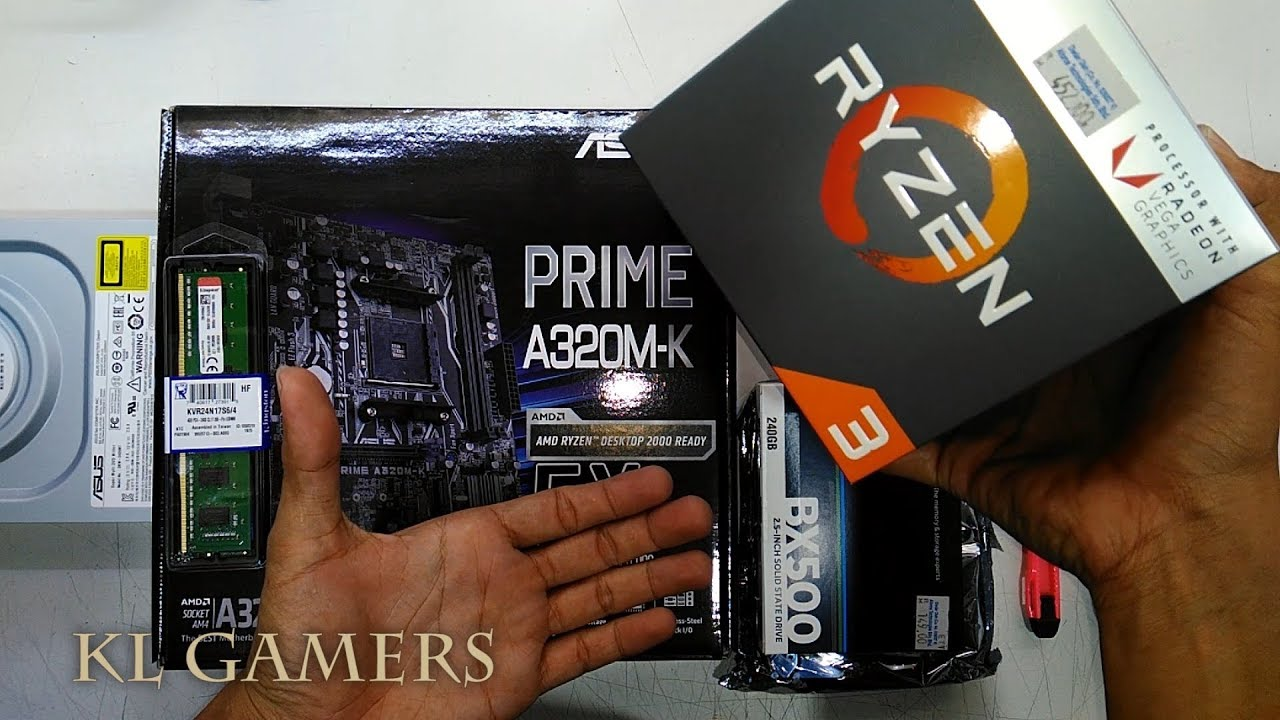 AMD Ryzen 3 2200G ASUS PRIME A320M-K DDR4 4GB Crucial BX500 Seagate 1TB  Budget office PC Build 2019