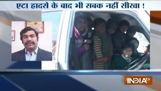 Police seized school van overloaded with 38 children in Haryana's Sonipat