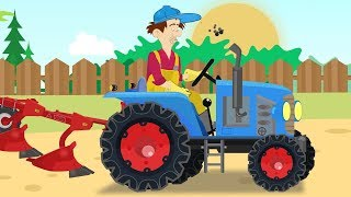 Farmers' trip in a red Tractor - Agricultural Equipment Factory | Vehicles for Kids - Bajki Traktory