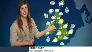 Eva presents the weather at the Met Office