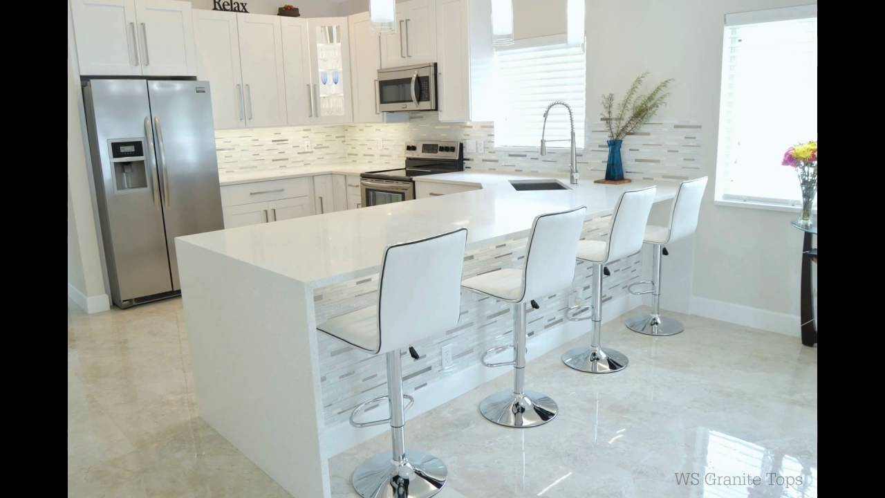 Sparkling white quartz kitchen countertops youtube dailygadgetfo Image collections