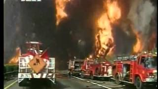 Oil tank - huge explosion after heavy fire