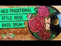 Neo Traditional Tattoo Style Camellia Rose Kick Drum Head Painting - Sign Painting