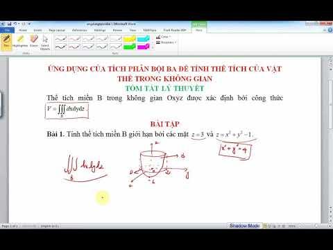 Ứng dụng tích phân bội ba để tính thể tích vật thể trong không gian
