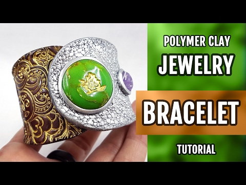 DIY Polymer Clay Bracelet with Faux Jade Gemstone. How to make unique bracelet. VIDEO Tutorial!