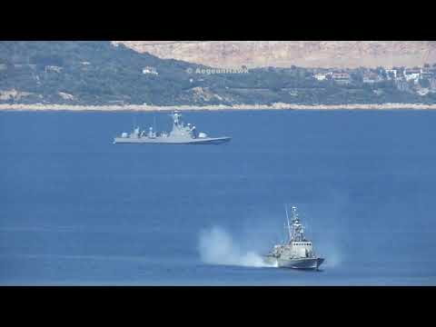 Hellenic Navy P72 and Turkish Navy P334 in Vathy Strait between Kastellorizo and Kas.