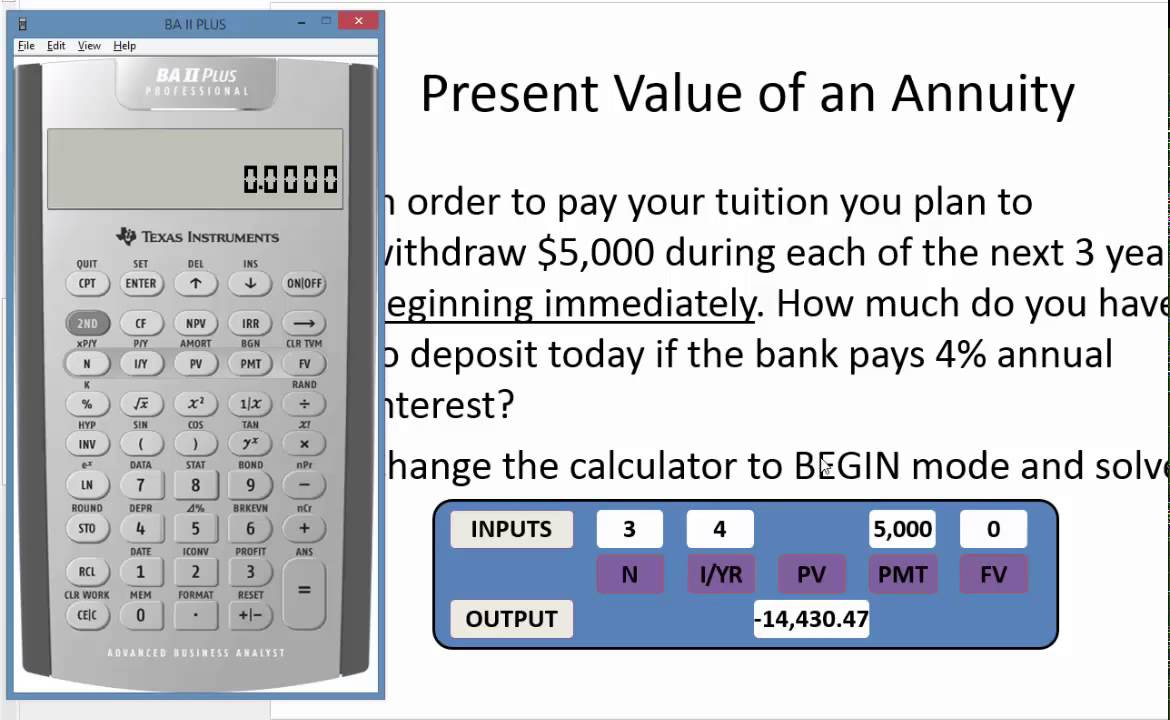 present value of an annuity due using the baii plus youtube