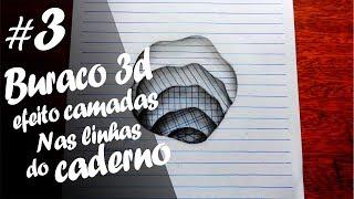 Como desenhar um buraco 3d de camadas - Nas linhas do caderno (speed drawing)