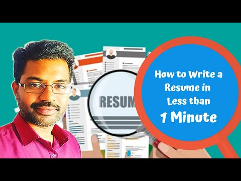 Resume Templates | Resume Builder | How To Create, Write Your Resume In Less Than A Minute