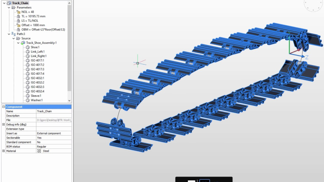 Parametric arrays of mechanical components in BricsCAD