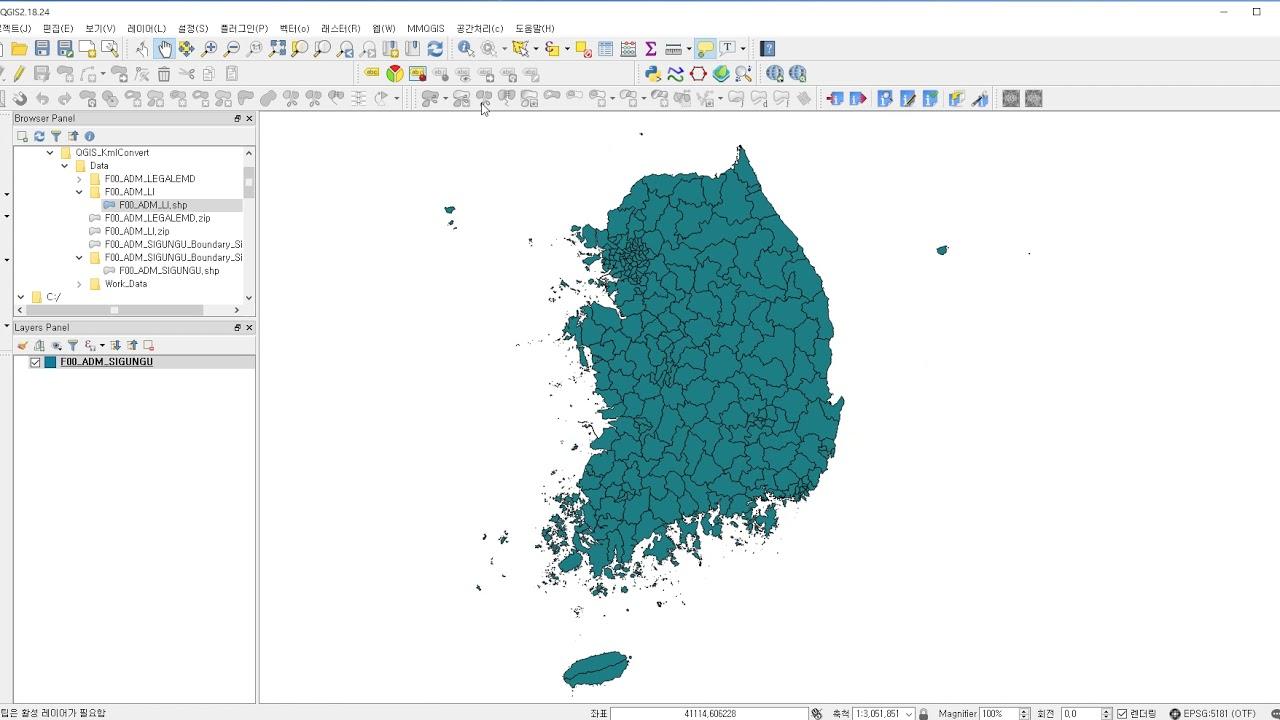 QGIS초보을 위한 행정구역경계선 만들기및 구글어스 KML 변환 - YouTube