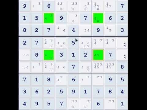 Sudoku Demonstration - X-Wing Technique (Example 01)