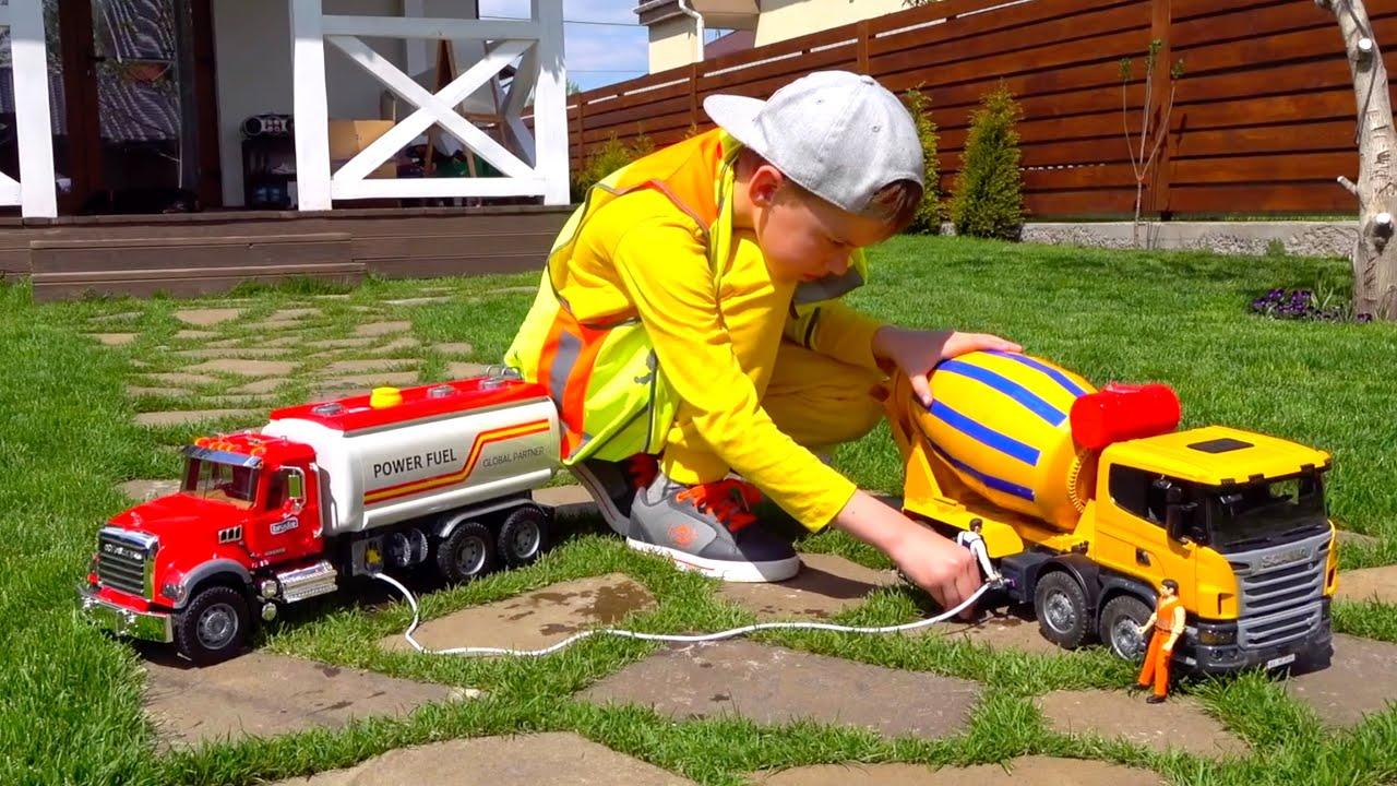 Трактор, Экскаватор, Бетоновоз, Бензовоз Bruder и другие строительные Машинки Car Toy Excavator Play