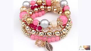 Gorgeous Designer Ladies Handcrafted Crystal Beads Bracelet Many Colors FREE SHIPPING!