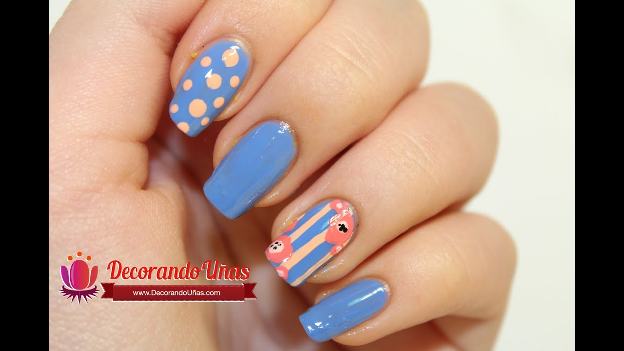 U as decoradas con lineas puntos y flores youtube - Unas decoradas con esmalte ...
